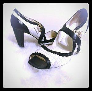 1930 style peep toe leather heel
